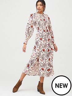 river-island-river-island-shirred-top-smock-midi-dress-cream