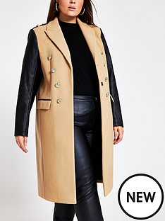 ri-plus-ri-plus-double-breasted-pu-sleeve-military-coat-camel