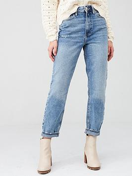 River Island River Island High Rise Washed Mom Jeans - Mid Wash Picture
