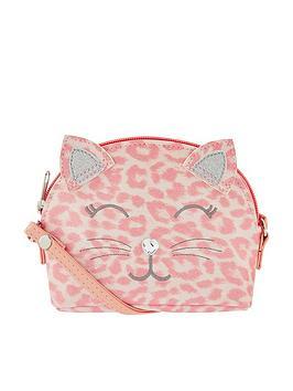 Accessorize Accessorize Girls Leopard Print Cat X Body Bag - Pink Picture