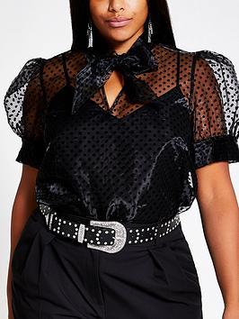 RI Plus Ri Plus Spot Organza Puff Sleeve Top - Black Picture