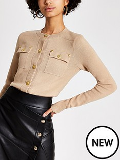 river-island-river-island-military-button-detail-cardigan-beige