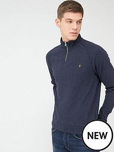 farah-jim-quarter-zip-sweatshirt-navy-marl