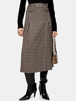 Topshop Topshop Archive Check Midi Skirt - Camel Picture