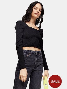 topshop-long-sleeve-shirred-top-black