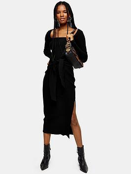 Topshop Topshop Topshop Square Neck Rib Bodycon Midi Dress - Black Picture