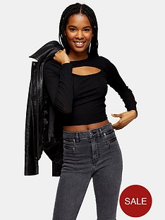 topshop-petite-cut-out-long-sleeve-top-black