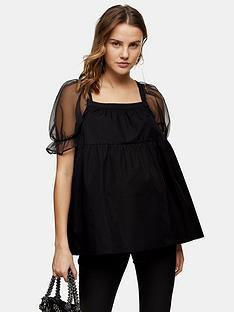 topshop-maternity-organza-sleeve-smock-tiered-top-black