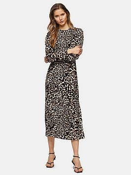 Topshop Topshop Open Back Animal Midi Dress - Multi Picture
