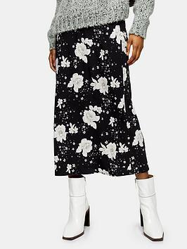 Topshop Topshop Mono Oriental Bias Midi Skirt - Mono Picture