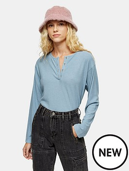 topshop-long-sleeve-grandad-rib-top-blue