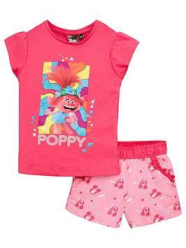 dreamworks trolls Dreamworks Trolls Trolls Girls Poppy Shortie Pjs - Pink Picture