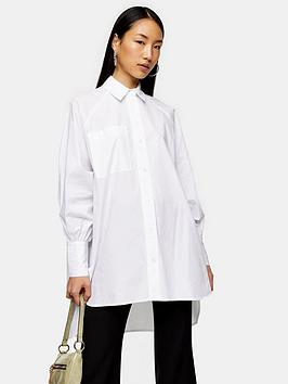Topshop Topshop Oversized Poplin Shirt - White Picture