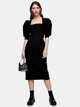 Topshop Topshop Square Neck Bengaline Midi Dress - Black Picture