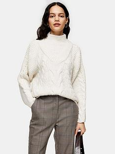 topshop-cable-knit-jumper-ivory