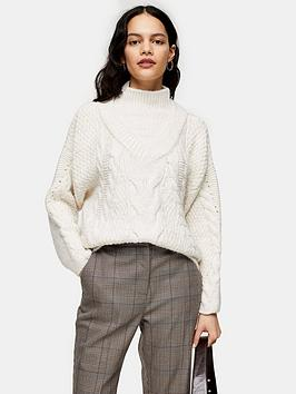 Topshop Topshop Cable Knit Jumper - Ivory Picture