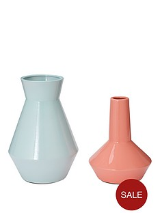 set-of-2-feature-vases-ndash-pink-and-mint