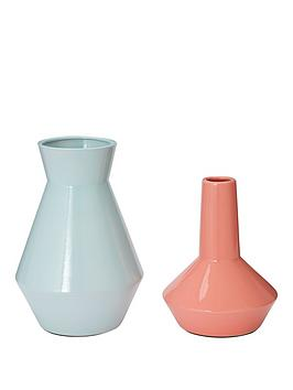 Very Set Of 2 Feature Vases &Ndash; Pink And Mint Picture