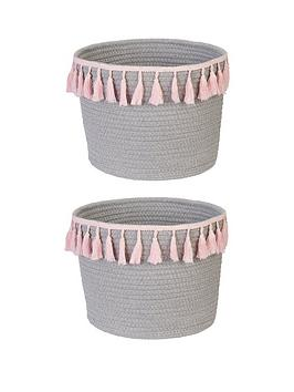 Very Set 2 Cotton Basket With Tassels Picture