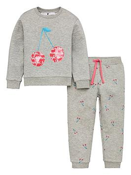 V by Very V By Very Girls Cherry Print Tracksuit - Grey Picture