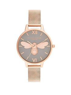olivia-burton-lucky-bee-grey-dial-and-rose-gold-mesh-watch