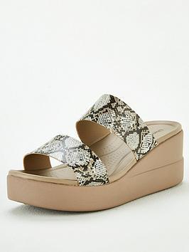 Crocs Crocs Brooklyn Mid Wedge Mule Sandal - Snake Print Picture