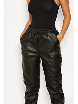 AX Paris Ax Paris Faux Leather Joggers - Black Picture