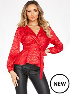 quiz-satin-leopard-print-balloon-sleeve-wrap-top-red