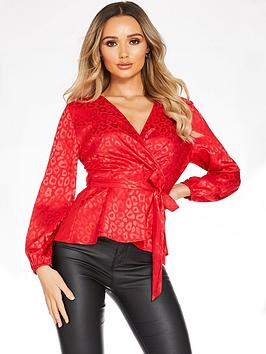 Quiz Quiz Satin Leopard Print Balloon Sleeve Wrap Top - Red Picture