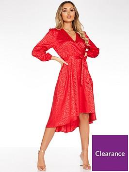 quiz-leopard-jaquard-wrap-front-balloon-sleeve-dip-hem-dress-red