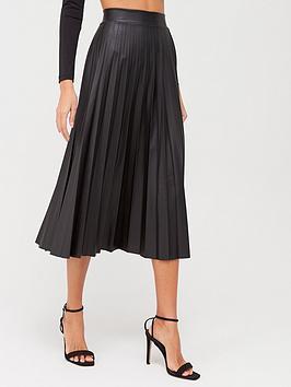 Quiz Quiz Quiz Pu Pleated Midi Skirt - Black Picture
