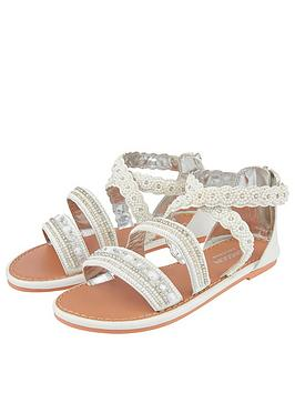 Monsoon Monsoon Girls Sicily Cross Strap Pearl Beaded Sandals - White Picture