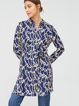 V by Very V By Very Longline Tie Waist Printed Shirt - Geo Picture