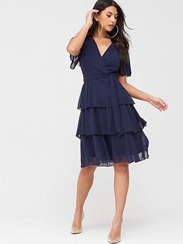 Quiz Quiz Quiz Chiffon Tiered Midi Dress - Navy Picture
