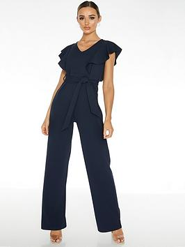 Quiz Quiz Scuba Crepe V-Neck Frill Jumpsuit - Blue Picture