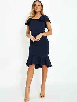 Quiz Quiz Scuba Square Neck Frill Sleeve Midi Dress With Frill Hem - Navy Picture