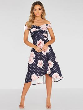 Quiz Quiz Polka Dot Floral Knot Front Dip Hem Dress - Navy Picture