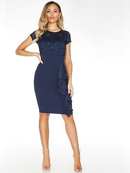 Quiz Quiz Quiz Navy Lace Sweetheart Neck Cap Sleeve Midi Dress With Scuba  ... Picture