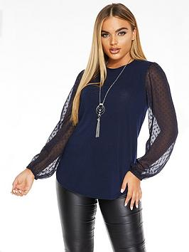 Quiz Quiz Light Knit Dobby Mesh Balloon Sleeve Necklace Top - Blue Picture