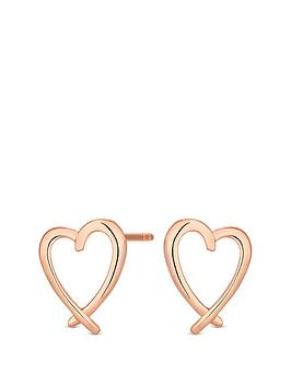 Simply Silver   Sterling Silver 14Ct Rose Gold Pleasted Heart Earrings