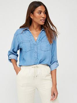 V by Very V By Very Soft Touch Denim Casual Shirt - Denim Picture
