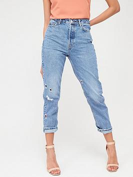 V by Very V By Very Mom Nibbled Vintage Rip Jeans - Mid Wash Picture