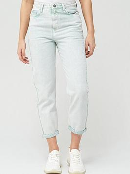 V by Very V By Very High Waist Acid Wash Mom Jean - Mint Picture