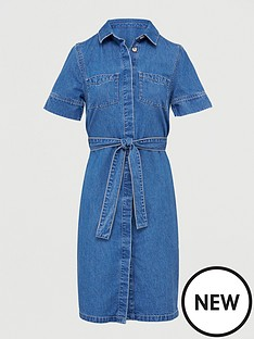 v-by-very-tie-waist-denim-dress-mid-wash