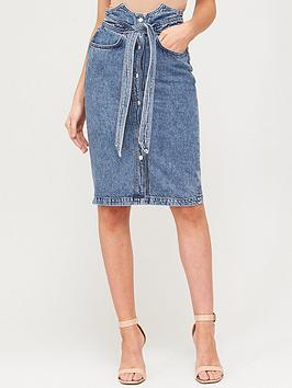 V by Very V By Very Corset Detail Tie Waist Skirt - Bleach Wash Picture