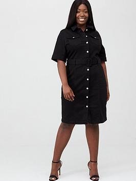 V by Very Curve V By Very Curve Bodycon Denim Shirt Dress - Black Picture