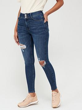 V by Very V By Very Shaping Knee Rip Skinny Jean - Dark Wash Picture