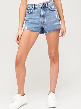 V by Very V By Very Distressed Denim Shorts - Mid Wash Picture