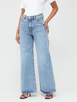 V by Very V By Very Wide Leg Full Length Jeans - Mid Wash Picture