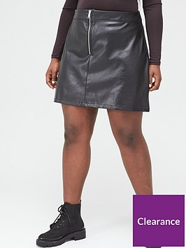 v-by-very-curve-zip-front-pu-skirt-black